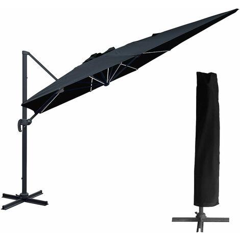 Parasol déporté MOLOKAI rectangulaire LED 3x4m noir + housse - Noir