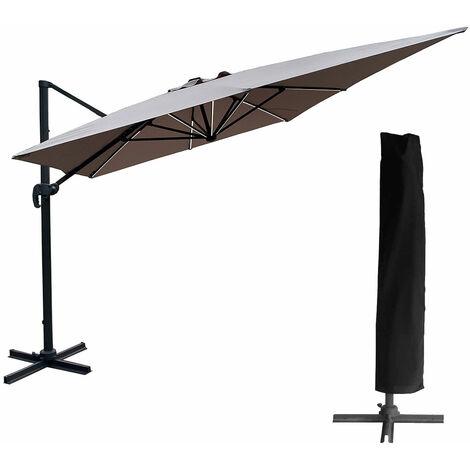 Parasol déporté MOLOKAI rectangulaire LED 3x4m taupe + housse - Marron
