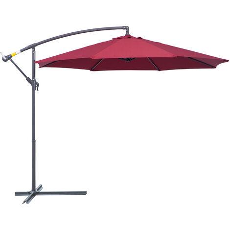 Parasol déporté octogonal à manivelle inclinable manivelle avec pied en acier diamètre 3 m rouge