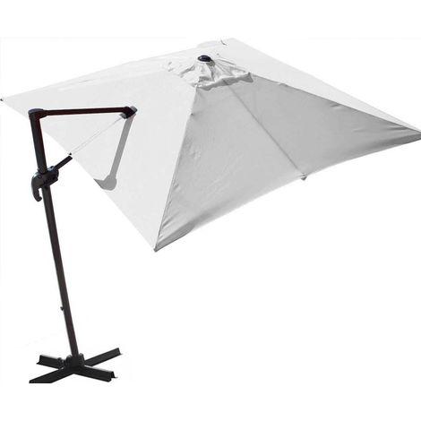 Parasol déporté orientable 360° inclinable gauche droite 3 x 3 m Orient Blanc - Blanc