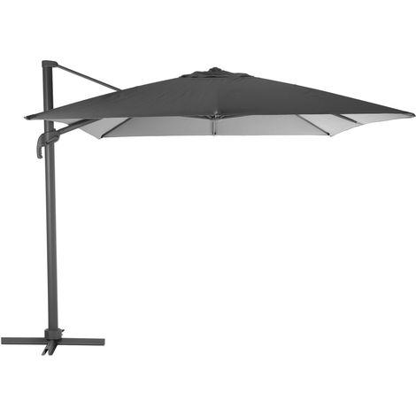 Parasol déporté rectangulaire Eléa - Inclinable - L. 400 x l. 300 cm - Gris ardoise et graphite - Gris foncé