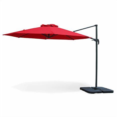 Parasol déporté rond Biscarosse ⌀350cm Rouge excentré inclinable