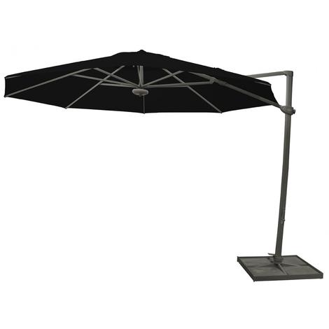Parasol déporté rond Noir anti-UV avec socle à dalles ⌀350cm