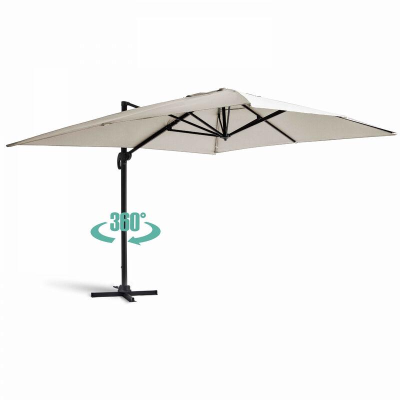 Parasol déporté rectangulaire 4x3m Caserta - Ecru - Ecru