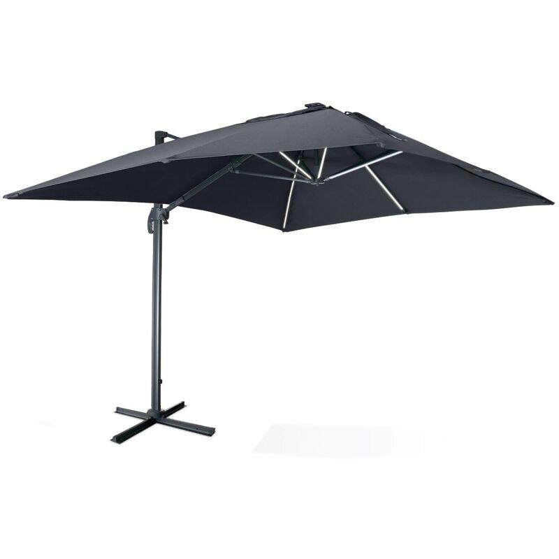 Parasol déporté solaire LED rectangulaire 3 x 4 m haut de gamme - Luce Gris - Parasol excentré inclinable, rabattable et rotatif à 360°, chargeur
