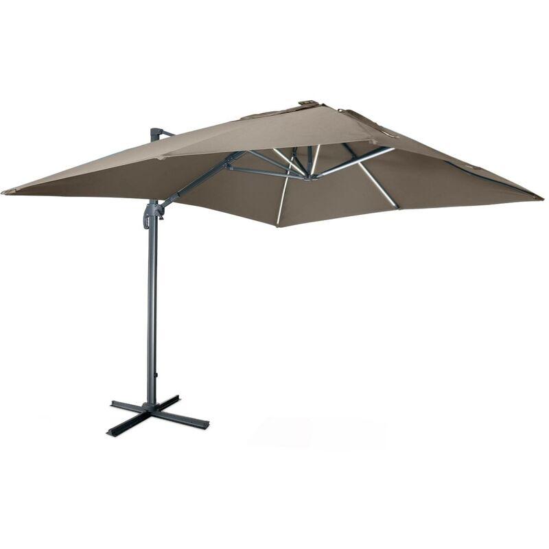Parasol déporté solaire LED rectangulaire 3 x 4 m haut de gamme - Luce Taupe - Parasol excentré inclinable, rabattable et rotatif à 360°, chargeur