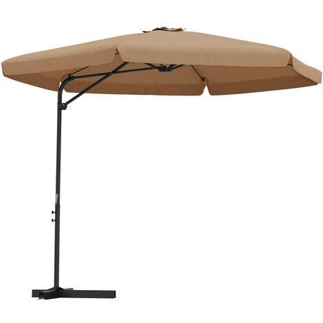 Parasol d'extérieur avec mât en acier 300 cm Taupe