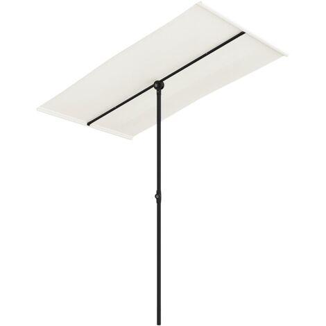 Parasol d'extérieur avec mât en aluminium 180x130cm Blanc sable