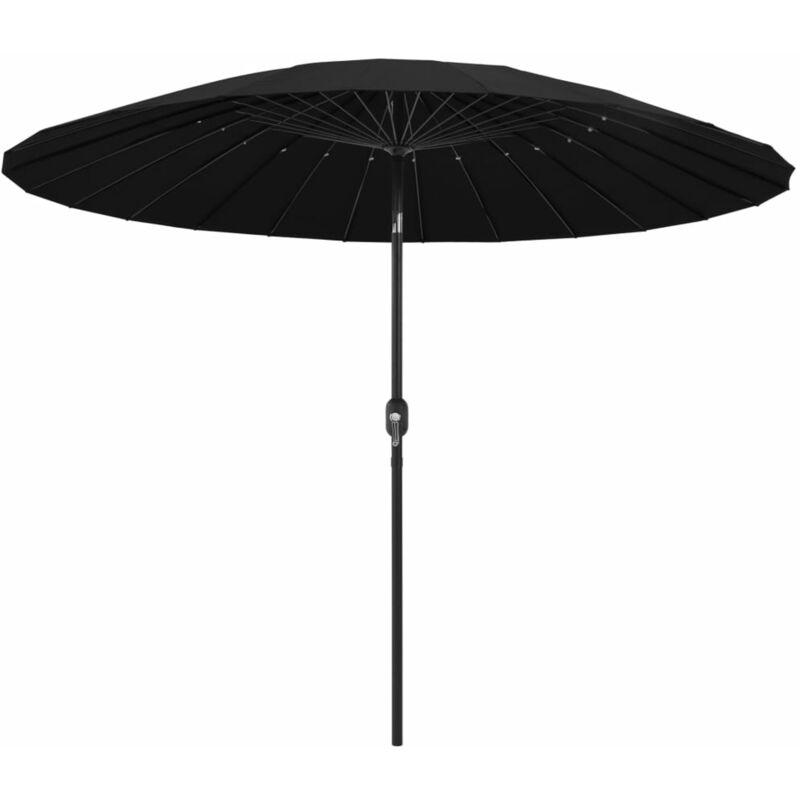 Parasol d'exterieur avec mat en aluminium 270 cm Noir