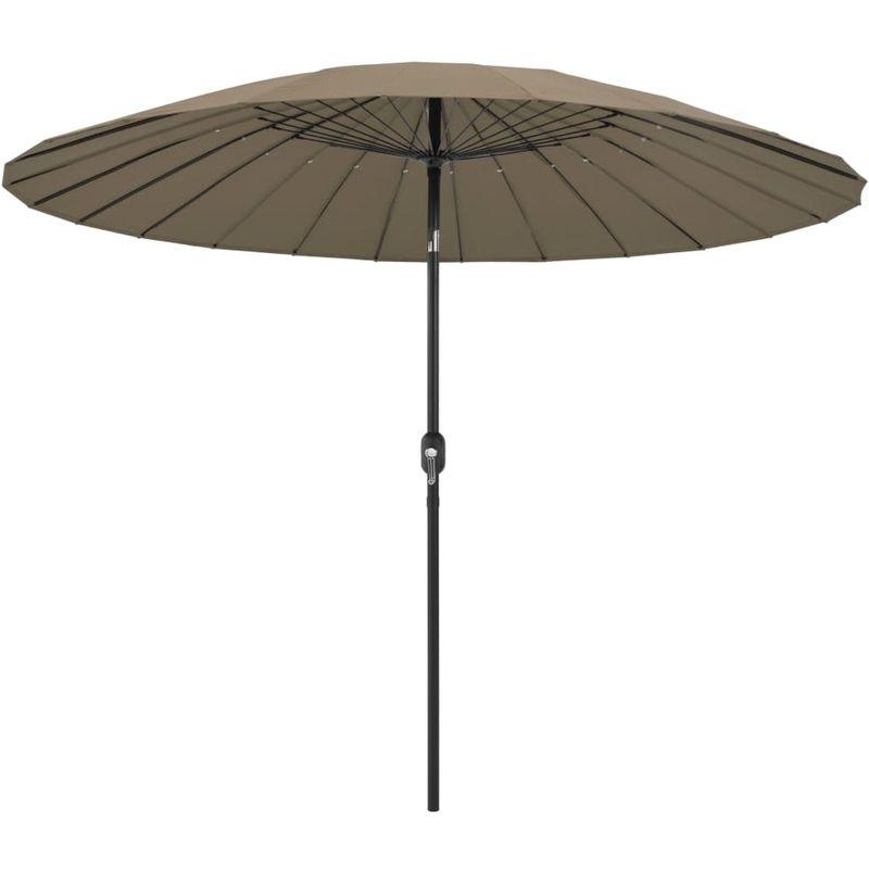 Parasol d'exterieur avec mat en aluminium 270 cm Taupe