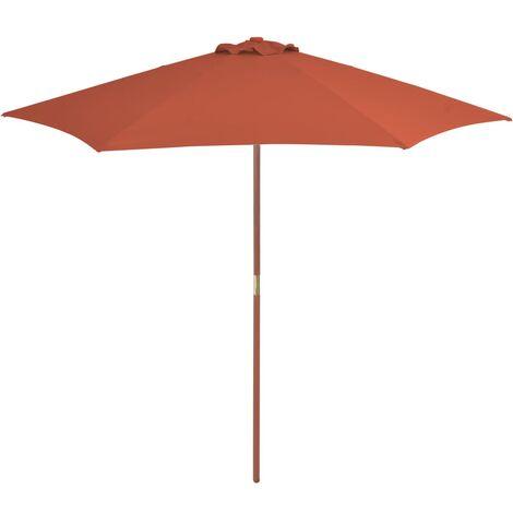 Parasol d'extérieur avec mât en bois 270 cm Terre cuite