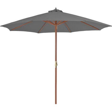 Parasol d'extérieur avec mât en bois 300 cm Anthracite