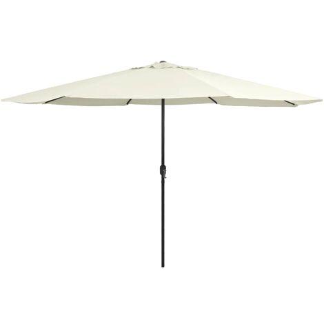 Parasol d'extérieur avec mât en métal 400 cm Blanc sable
