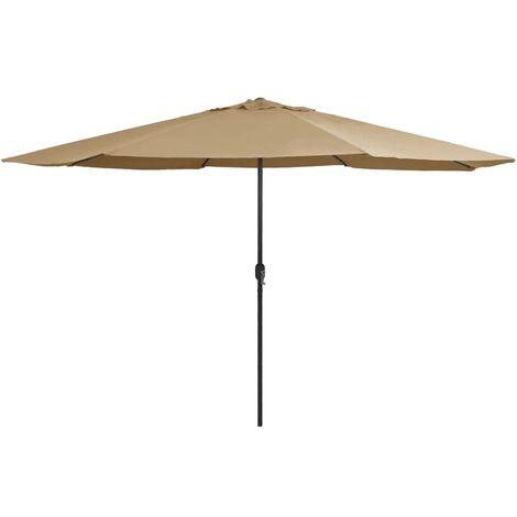 Parasol d'extérieur avec mât en métal 400 cm Taupe