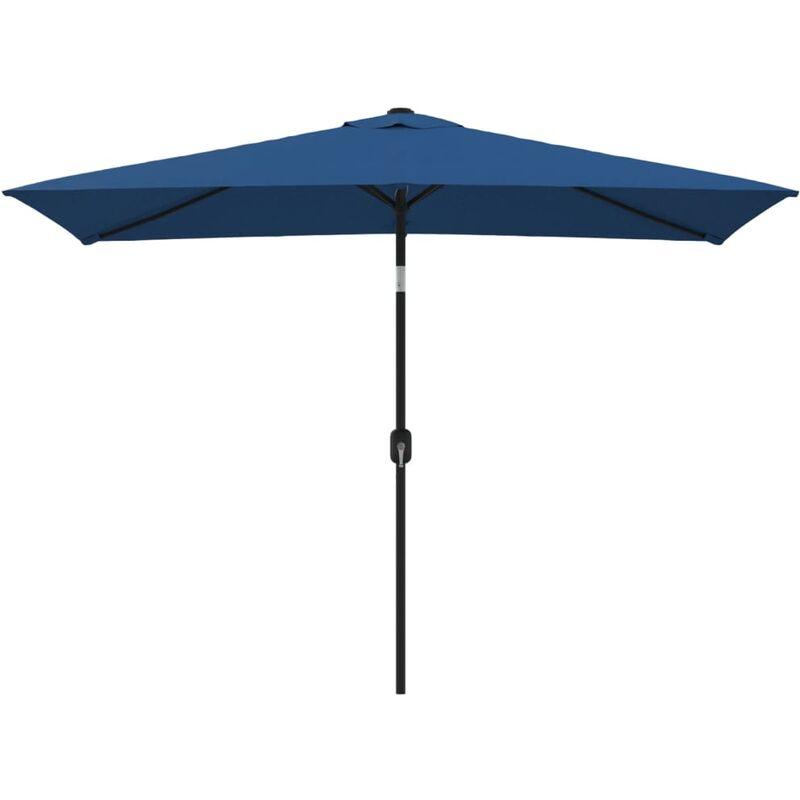 Parasol d'extérieur avec poteau en métal 300x200 cm Azuré