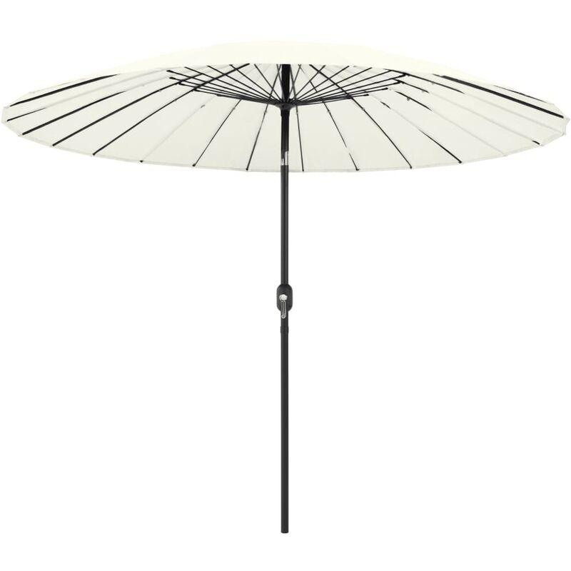 Parasol d'extérieur et mât avec aluminium 270 cm Blanc sable