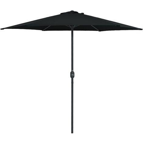 Parasol d'extérieur et mât en aluminium 270x246 cm Noir