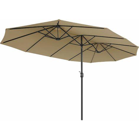 Parasol Double 460 x 270 cm, Ombrelle Extra Large pour terrasse, Protection UPF 50+, avec manivelle, pour Jardin, extérieur, Piscine, Plage, sans Socle, Taupe GPU36BR - Taupe