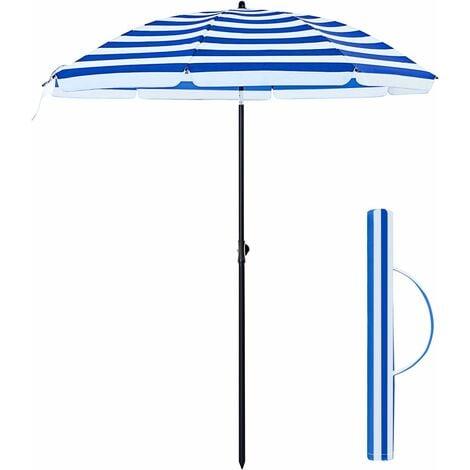 Parasol Droit, Ø 160 cm, UV 50+, Nervures en Fibre de Verre, Toile Polyester, Inclinable, Sac de Transport, Terrasse, Jardin, Balcon, Plage, Bleu Rouge et Blanc GPU60WU