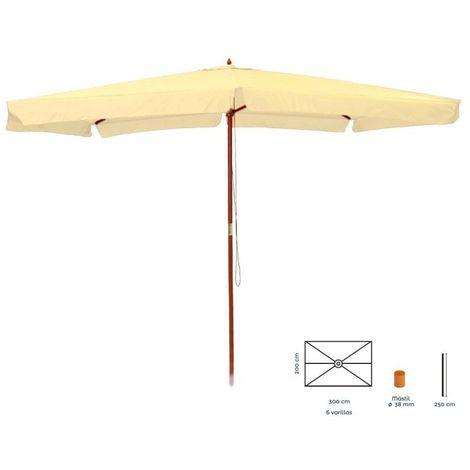 Parasol droit 2x3m en bois beige LENA - L 200 x l 300 x H 250