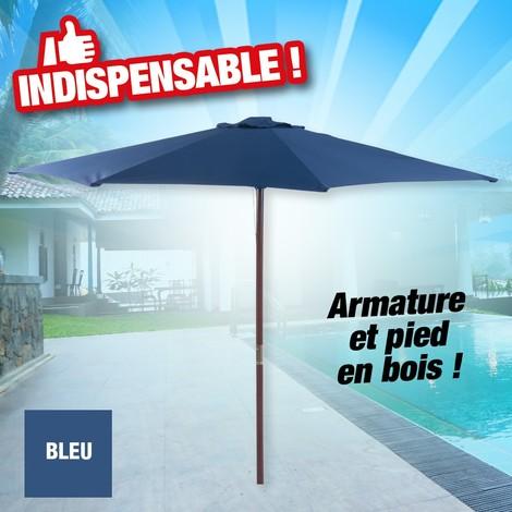 Parasol droit en bois, de couleur bleue