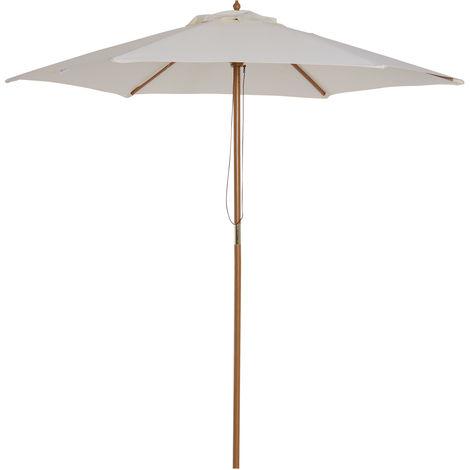 Parasol droit en bois toile polyester 180g/m² diamètre 2,5 m crème