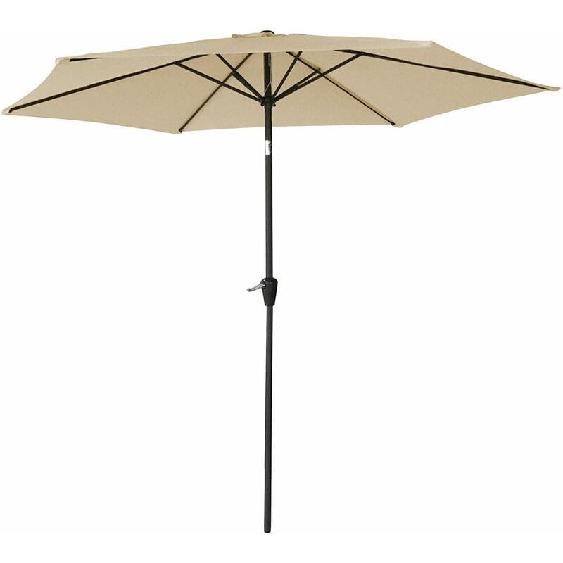 Parasol droit HAPUNA rond 2,70m de diamètre beige - Beige