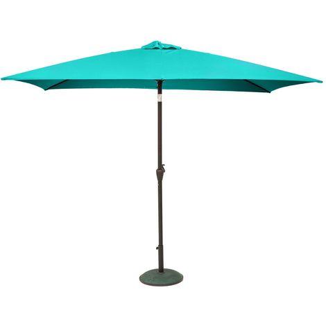 Parasol droit inclinable rectangulaire Fidji - 200 x 300 cm - Bleu émeraude - Turquoise