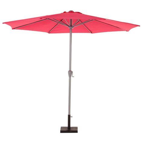 Parasol droit inclinable rond Fidji - Diam. 300 cm - Rouge framboise - Framboise