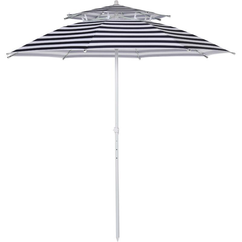 Parasol droit octogonal double toit Ø 220 cm tissu polyester haute densité anti-UV hauteur réglable sac de transport inclus bleu blanc