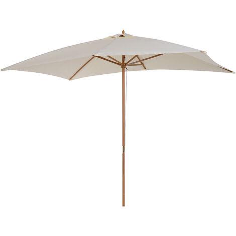 Parasol droit rectangulaire bois polyester haute densité 2,95L x 2l x 2,55H m crème