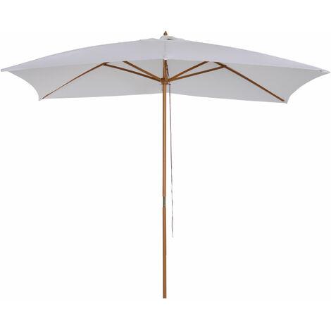Parasol droit rectangulaire de jardin grande taille dim. 3L x 2l x 2,5H m blanc