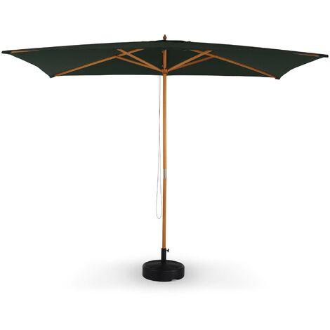 Parasol droit rectangulaire en bois 2x3m - Cabourg Vert bouteille - mât central en bois, système d'ouverture manuelle, poulie