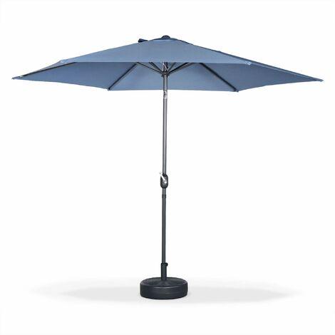 Parasol droit rond ⌀300cm - Touquet Bleu grisé - mât central en aluminium orientable et manivelle d'ouverture