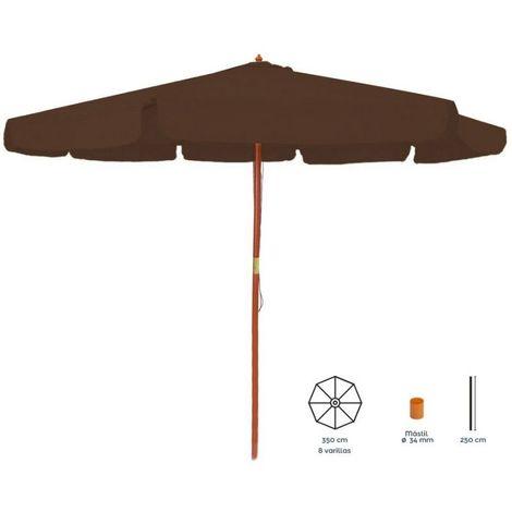 Parasol droit rond 3.5m en bois marron LENA - L 350 x l 350 x H 250