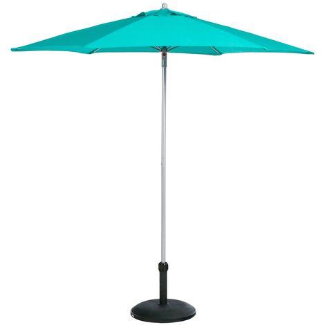Parasol droit rond Anzio - Diam. 230 cm - Bleu émeraude - Bleu clair