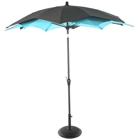 Parasol droit rond Raja - Inclinable - Diam. 270 cm - Bleu émeraude - Bleu clair