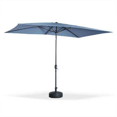 Parasol droit Touquet rectangulaire 2x3m bleu grisé, mât central aluminium orientable et manivelle d'ouverture