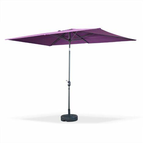 Parasol droit Touquet rectangulaire 2x3m Prune, mât central aluminium orientable et manivelle d'ouverture