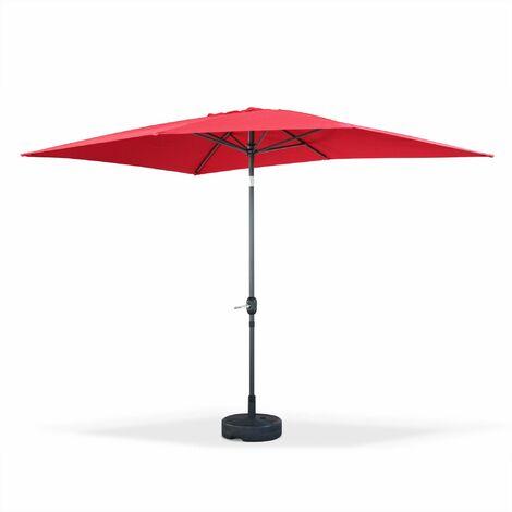 Parasol droit Touquet rectangulaire 2x3m Rouge, mât central aluminium orientable et manivelle d'ouverture