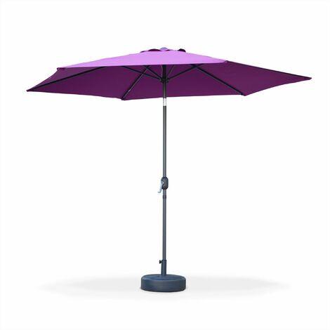 Parasol droit Touquet rond ⌀300cm Prune, mât central aluminium orientable et manivelle d'ouverture