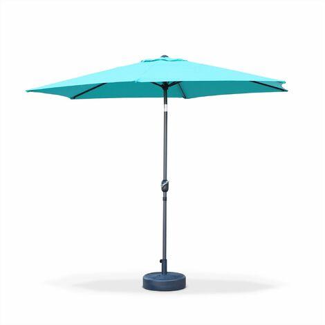 Parasol droit Touquet rond ⌀300cm Turquoise, mât central aluminium orientable et manivelle d'ouverture