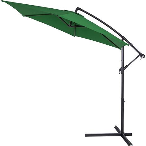 Parasol en aluminium Ø 330 cm BLEU Manivelle Protection UV Pare-soleil