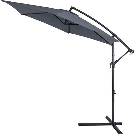 Parasol en aluminium Ø 330 cm GRIS Manivelle Protection UV Pare-soleil