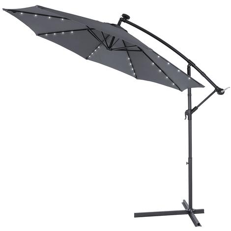 Parasol en aluminium 3m anthracite Haiti éclairage 32 LED protection soleil