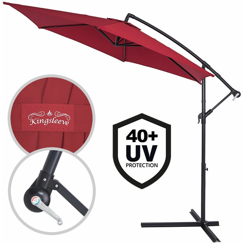 Parasol en aluminium Ø 300cm Protection UV 30 Manivelle Jardin terrasse balcon Rouge - Rojo