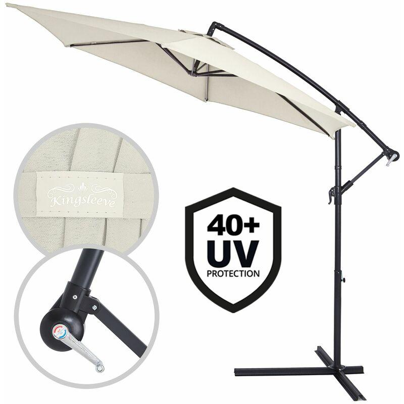 Parasol en aluminium Ø 300cm Protection UV 30 Manivelle Jardin terrasse balcon Crème - Crema