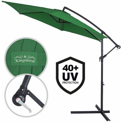 Parasol en aluminium de Ø 300cm- 330cm avec dispositif à manivelle et protection UV 40+, parasol pour jardin/marché disponible dans plusieurs couleurs