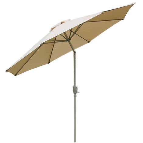 Parasol en aluminium N18, 270 cm, inclinable, inoxydable ~ crème