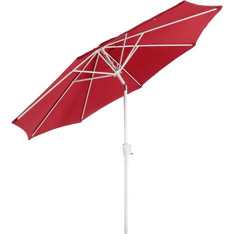 Parasol en aluminium N19, 300 cm, inclinable, inoxydable ~ rouge